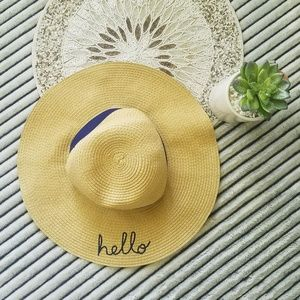 Carter's Childrens Hello Embroidered Straw Hat